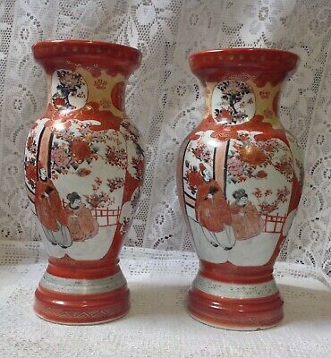 Pair of Antique Japanese Kutani Porcelain Vases Signed - Hand Painted