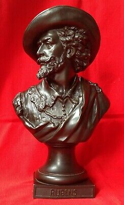 """C1880 French Bronzed Spelter Bust Artist Rubens Signed Guillemin H 13"""" X  W 3.5"""""""