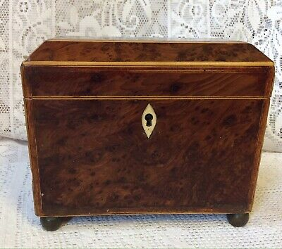 C 1800 Georgian Solid Yew Wood Tea Caddy, With Boxwood & Rosewood Inlays