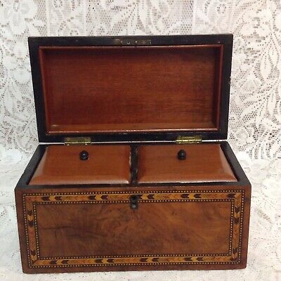 1810-20 Georgian Mahogany Parquetry Dome Top Tea Caddy Lidded Inner Compartments