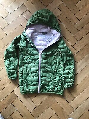 Girls Lightweight Padded Jacket Age 8-9 Years Green With Pale Pink Lining
