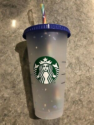 Starbucks Confetti COLOR CHANGING cold cup tumbler 24oz reusable Rainbow Straw