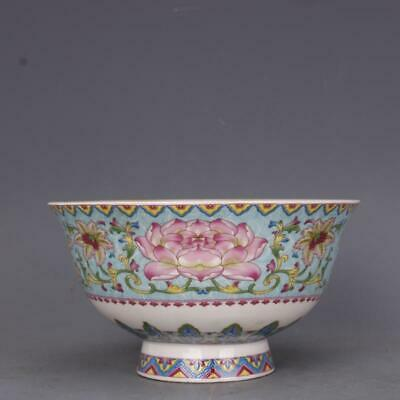Collect China Qing Dynasty Porcelain Famille Rose Lotus Flower Link Branch Bowl