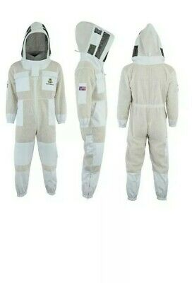 Unisex 3Layer Ultra Ventilated Full Suit/White Mesh Bee Jacket Astronaut Veil. L