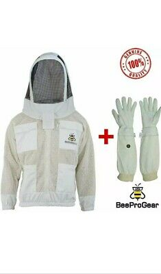 Unisex 3Layer Ultr Ventilated White Mesh Bee Jacket Astronaut Veil+Free Gloves.L