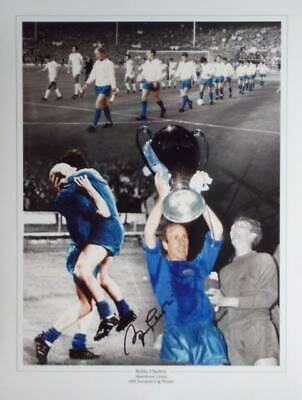 Bobby Charlton 1968 Manchester United signed Photo Proof Europan Cup Winners COA