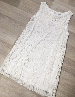 Girls Stunning Ivory Soft Lace Lined Dress Age 9-10 Zara