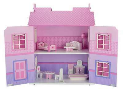 NEW Bubbadoo Kids Wooden Dolls House Pastel Pretend Play Toy for Girls 56cm