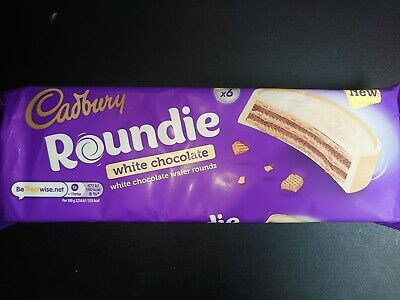 Cadbury Roundie White Chocolate Biscuit 6 pack 180g New Release long date