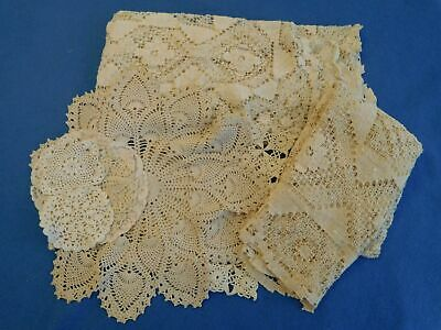 Lot of 11 Vintage Table Linens Hand Crocheted Doilies Centers