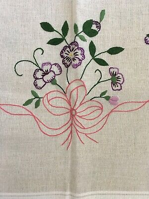 Traditional Hand Embroidered French Napperon Tablecloth