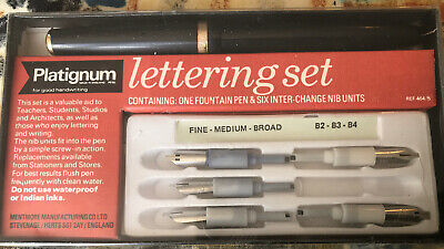 Platignum Pen Lettering Set with 6 Nibs (Fine, Medium, Broad) and Instructions