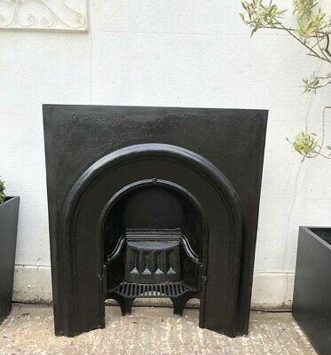 A Pretty Victorian Cast Iron Arched Insert Fireplace