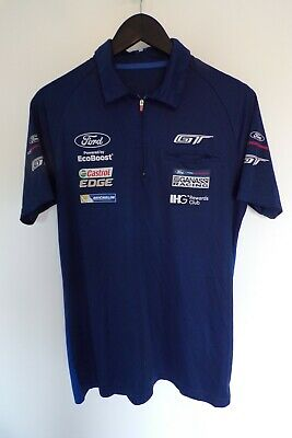 Le Mans FORD GT CHIP GANASSI RACING TEAM ISSUE ZIPPED POLO SHIRT MENS MEDIUM