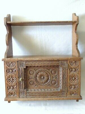 Antique Carved Oak Cupboard With Medieval Gothic Look