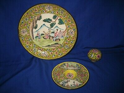 Antique Chinese Set of  Canton Enamel  Yellow Famille Rose Figures in Garden