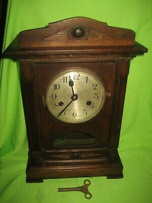Antique / Vintage Wood  Wind Up Wall / Mantle Clock  With Key