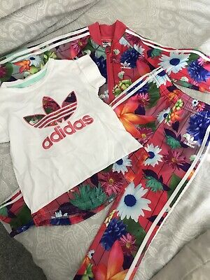 Girls Adidas Floral Tracksuit Bundle Age 3/4 Zip Up Top T-shirt And Pants