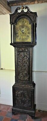 18th Cent Carved Oak 8 Day Longcase Clock