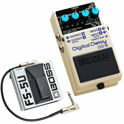 Boss DD-8 Digital Delay Dispositivo per Effetti + FS-5U Pedale + Keepdrum Patch