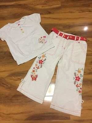 Debenhams Designers Butterfly Girls Top & Trouser Aged 7 Years Old