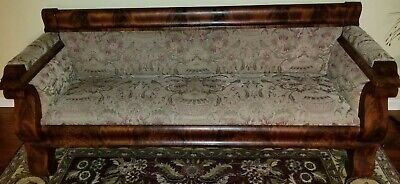 1800s Empire Flame Mahogany Couch Sofa Professionally Reupholstered