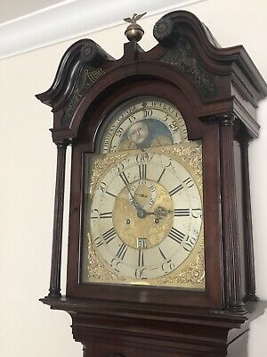 Late 18th C Brass Moon Phase Dial Flame Mahogany Longcase Clock, Thomas Clare