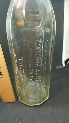 "Vintage WAYNE COUNTY PRODUCE CO. 10"" GLASS bottle Greenpoint, L.I."