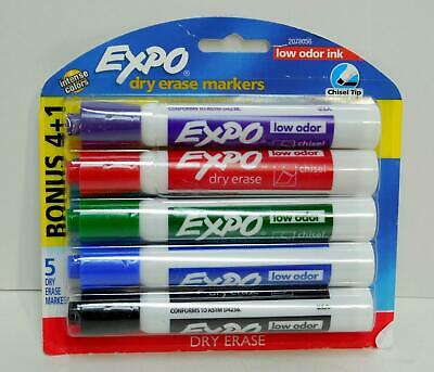 5 Pack of EXPO Intense Colors Chisel Tip Dry Erase Markers Low Odor Ink 2078056