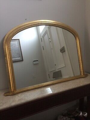 Beautiful Victorian wall / overmantle mirror by Atsonea with gold painted frame