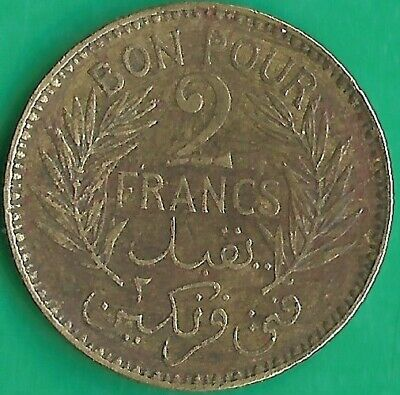 Tunisia.1941.2 Francs.French Protectorate.VF.