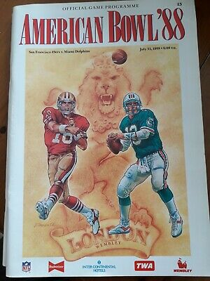 American Bowl 88,official game programme,San francisco 49ers v Miami Dolphins