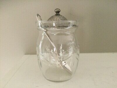 Vintage Etched Jelly/Mustard Jar With Lid & Sterling Silver Spoon