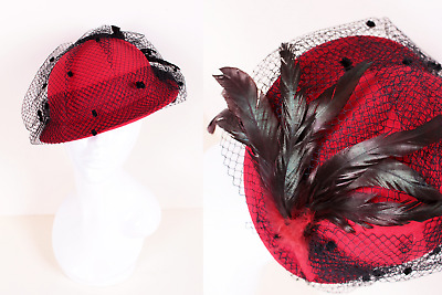 Vintage 80's Bright Red Hat with Black Polka Dot Mesh Net Feather Cocktail Hat