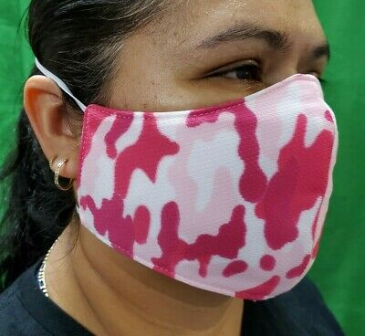 Triple Layer Women's Pink Camo Face-Mask Mouth & Nose Cover Elastic Strap