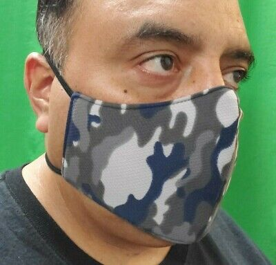 Triple Layer Unisex Blue Camo Face-Mask Mouth & Nose Cover Elastic Strap