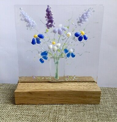 Bright Cheerful Everlasting Flower Bouquet Fused Glass Sun Catcher & Oak Stand