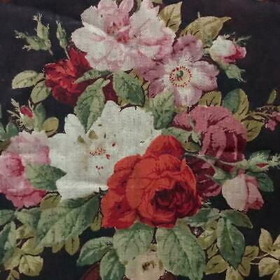 RARE BEAUTIFUL 19th CENTURY FRENCH ROCOCO MOHAIR FABRIC PIECE c1860s ROSES FLORA