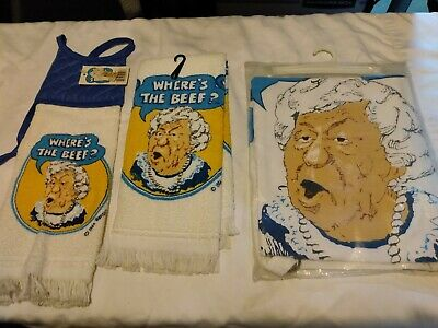 Lot Vintage Wendy's Where's The Beef Apron Towel Set