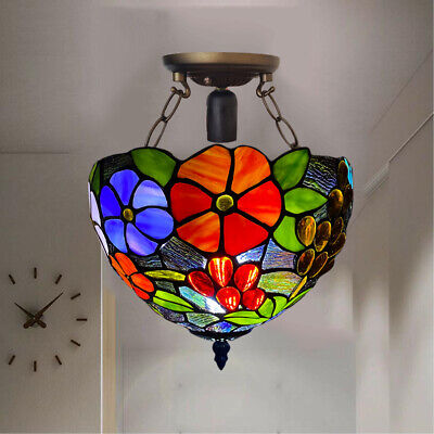 Stunning Tiffany Style Handcrafted Ceiling Lamp Beautiful Rose Design Home Decor