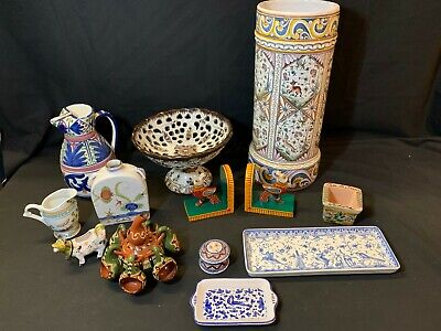 A Collection of 12 Pieces of Mediterranean mainly Portuguese Porcelain Items