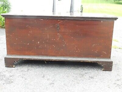 early pa dovetailed bracket foot blanket chest c 1800 strap hinges salmon paint