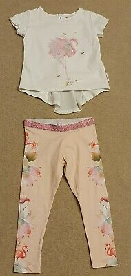 Ted Baker Girl Pink Flamingo Legging & Top Outfit Age 2-3
