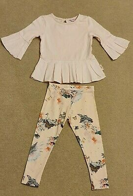Ted Baker Girl Pink Swan Legging & Top Outfit Age 2-3