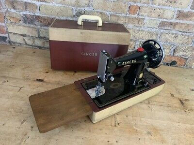 Fabulous Singer Sewing Machine, 99K, Hand Crank, Cast Iron in Case, made 1957