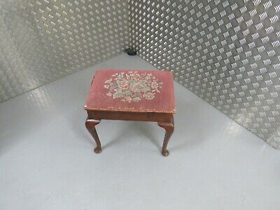 Antique  piano stool on cabriole legs ottoman sturdy original fabric