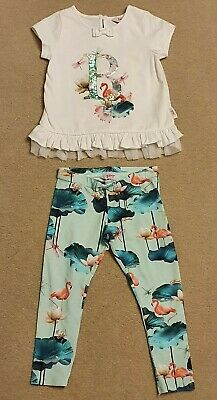 Ted Baker Girl Blue Flamingo Legging & Top Outfit Age 2-3