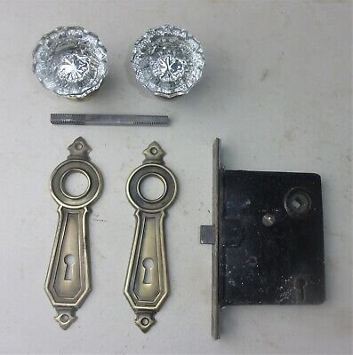 Antique Hardware Set 12 Points Glass Door Knobs Art Deco Backplate Mortise Lock