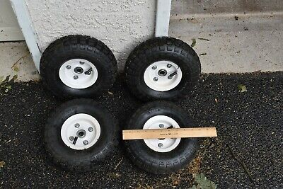 "Haulmaster Set 4 Wheels 10"" DIAMETER 3.5"" WIDE Tubes 300 Pound Rated 5/8"" Hubs"