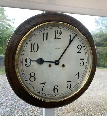 Antique Enfield Wooden Railway Station School Industrial Wall Clock *Project*